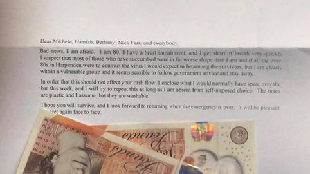 The Red Cow in Harpenden received a cash donation from a customer unable to visit because of the cor
