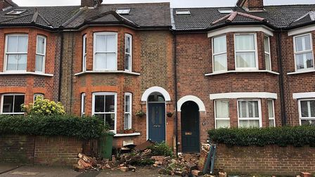 Two garden walls were driven into in Watson's Walk, St Albans. Picture: Supplied