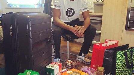 Royston Town's Claudio Ofosu donated food to the NHS. Picture: Twitter @ClaudioOfosu