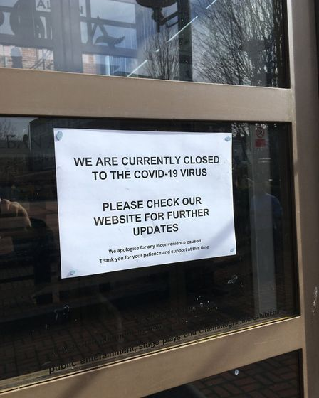 A notice on the door of The Alban Arena telling people the St Albans venue has closed due to the cor