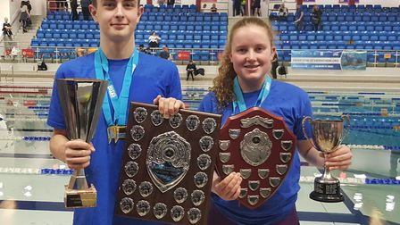 St Albans District Secondary Schools swimming team captains, St George's Joe Richardson and Lucy Jor