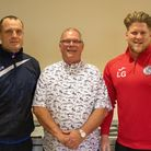 St Ives Town chairman Gary Clarke (centre) with the club's football and education programme joint ma