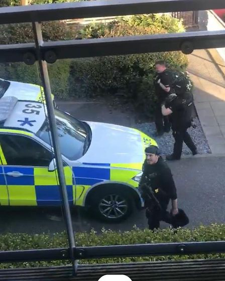 Armed police in Newsom Place, St Peter's Road, St Albans. Picture: Edward Gillson
