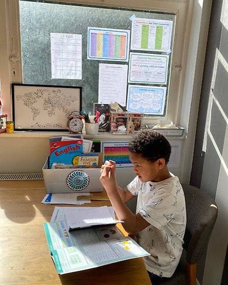 Tyrell Seidu, 9, doing his home learning during the Coronavirus shutdown. Picture: Supplied