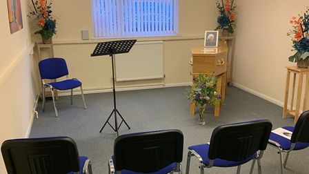The ceremony room at Kingfisher Funerals