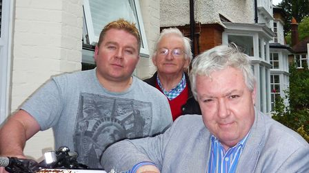 CEO Iain Murtagh (left) outside The Crescent with retired GP Michael Jameson (centre) and actor John