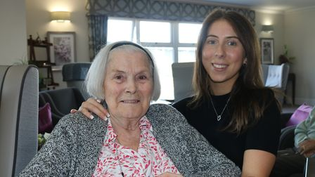 Resident Greda with Customer Relations Adviser Hannah Mills at Ferrars Hall Care Home in Huntingdon