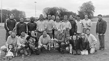 Mile House, Sunday League 1996-97: Back row (l. to r.): Neil Parker, Mark Sewell, Claude Wallace, N