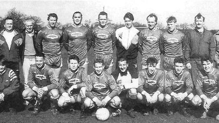 Colney Heath Queen's Head 1990-91, Sunday League Premier Division. Back row (l. to r.): Ray Evans,