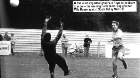 Paul Seymour scores for Mile House in the 1996-97 season.