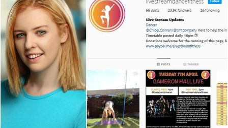 Dancer Chloe Colman is live streaming her workouts