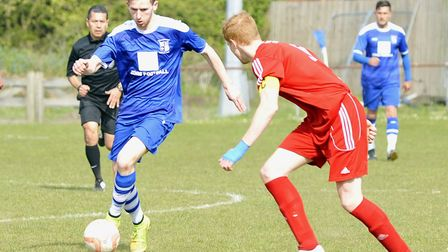 Hot-shot striker Tom Meechan in action for Godmanchester Rovers. Picture: ARCHANT
