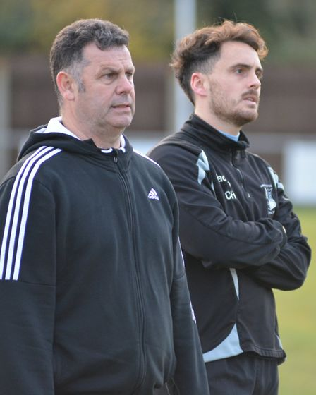 Nev Nania (left) with one of his midfield selections, Chris Hyem. Picture: ARCHANT