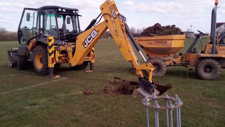 Work has begun on the installation of floodlights at St Ives Rugby Club. Picture: ST IVES RUGBY CLUB