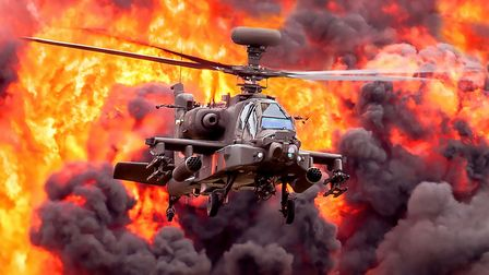 Agusta Westland Apache AHMk1 Helicopter in mock attack at the Duxford Air Festival 2019. The 2020 ai