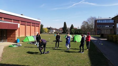Students at Verulam Academy learning new skills putting up tents while ensuring social distancing. P