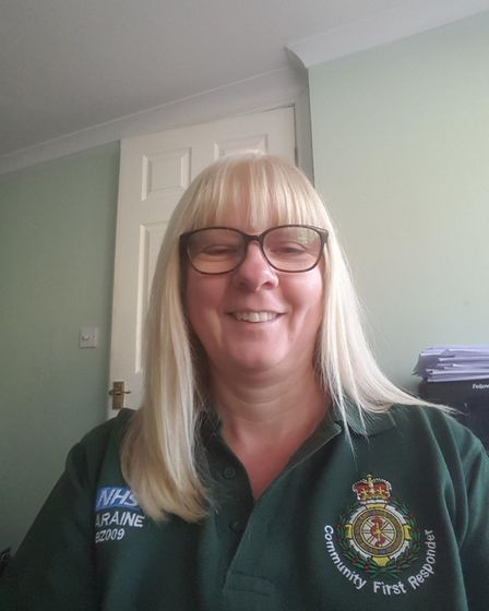 Laraine Upton, who works as a community first responder for the ambulance service in Stevenage. Pict