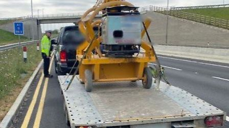 A trailer with a load was stopped by police after it was caught speeding on the A1 near Buckden. Pic