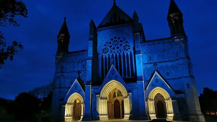 St Albans Cathedral was illuminated in NHS blue.