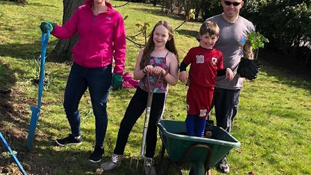 Suzanne, Jessica, Jenson and Scott Dolan, who saved a tree planting project at Mount Pleasant School