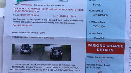 Elderly woman visiting sick husband in Huntingdon care home is given parking ticket