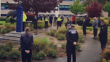 Police in Huntingdon take a 1 minute silence for all who have lost their lives due to Covid-19 PICT