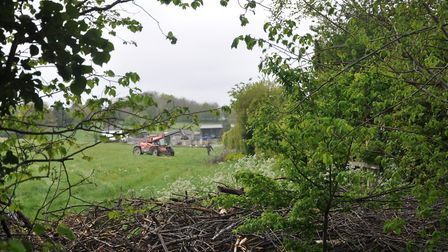A barbed wire fence has been erected alongside the proposed Gladman development in Royston. Picture: