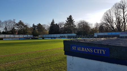 An empty Clarence Park, home of St Albans City Football Club.
