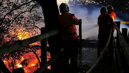Fiirefighters were called to the fire the Paxton Pits Nature Reserve on Friday night