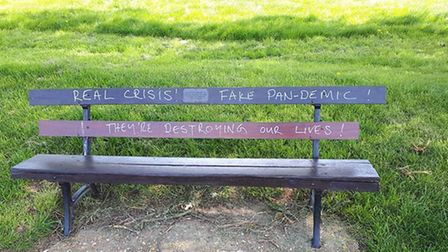 Vandals have targeted memorial benches and tombstones in Redbourn to spread coronavrius conspiracy m