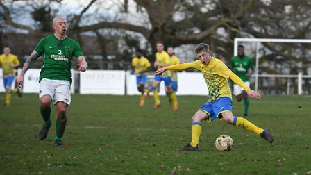 George Robinson in action for Harpenden Town. Picture: JAMES LATTER