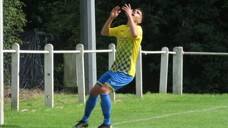 Matt Standen after hitting the bar for Harpenden Town against Leighton Town. Picture: RAY CANHAM
