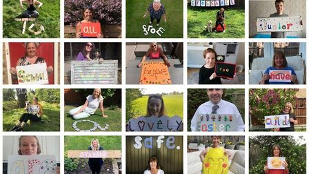 Staff at Crosshall School in St Neots made a collage for pupils
