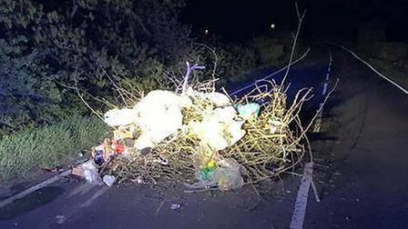 Police say nappies and other rubbish was dumped on the road near Pidley