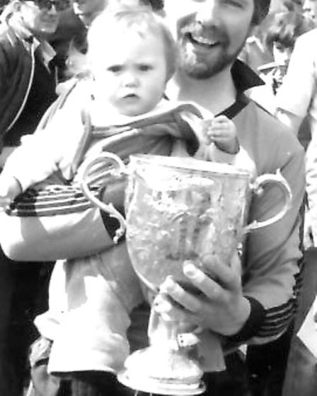 London Road's John Ralph with his daughter Samantha after they won the Bingham Cox Cup. Picture: BRI