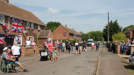 Residents gather to celebrate in Riversmead. Picture: SARAH BECK