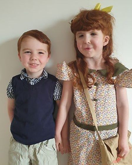 Dylan and Isla from St Neots, their mum is a keyworker. Picture: SARAH BECK