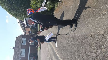 Paul Draper and pal at VE Day celebrations in Hollybush Avenue, St Albans.