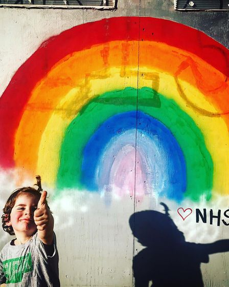 Florian from St Albans thanks the NHS. Picture: LJ Silverman