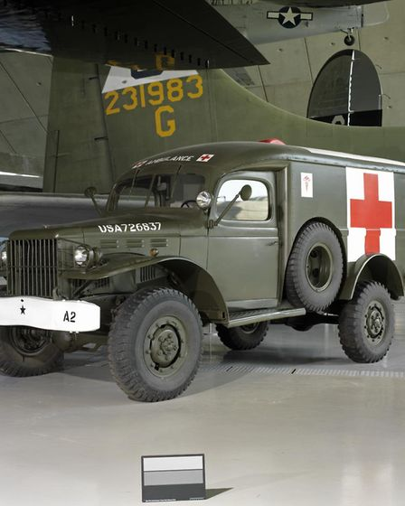 Standard US Army and USAAF ambulance of the Second World War, on display at the American Air Museum