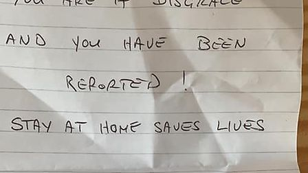 Deb Leighton's daughter found this note posted through her letter box after returning from her role