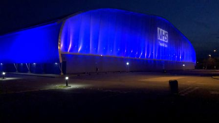 Absolute Audio Visual Solutions, based in Litlington, turned the airspace hangar at IWM blue to mark