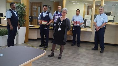 Hunts Taxis delivered Easter eggs to staff at Hinchingbrooke Hospital