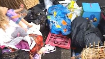Toys and household items were dumped outside the recyling facility in Cromwell Road, St Neots.