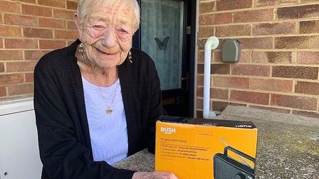 Rose Johnson from St Neots has received a free FM radio from Black Cat Radio in St Neots PICTURE: