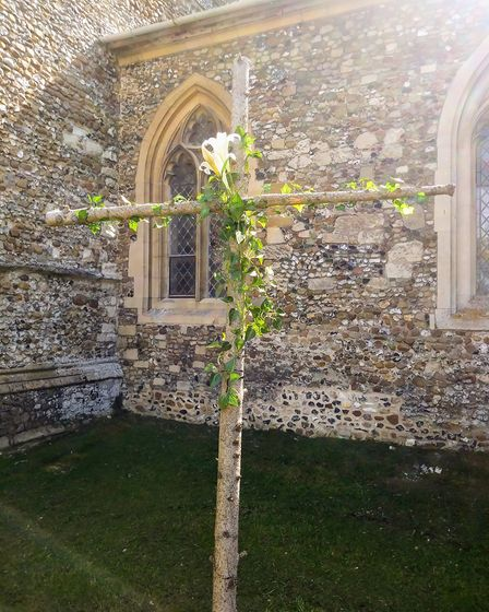The Easter cross by churchwarden Lisa Turner at St Mary's Church in Fowlmere. Picture: Caro Hollway