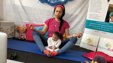 Lola Conrich is now giving her Kalma Baby yoga classes online for parents in St Albans and Harpenden