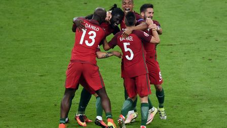 Portugal players celebrate during the Euro 2016 Final at the Stade de France, Paris. Picture: JOE GI