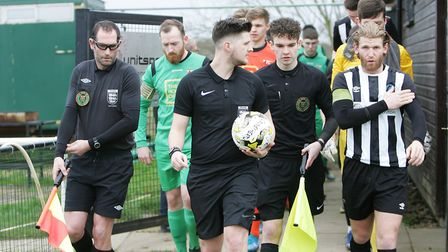 Colney Heath V Tring Athletic - The teams emerge from the tunnel before the Spartan South Midlands L