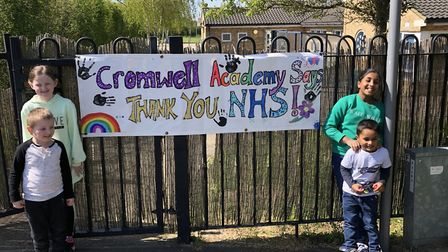 Pupils at the Cromwell Academy in Huntingdon say thanks to NHS and key workers